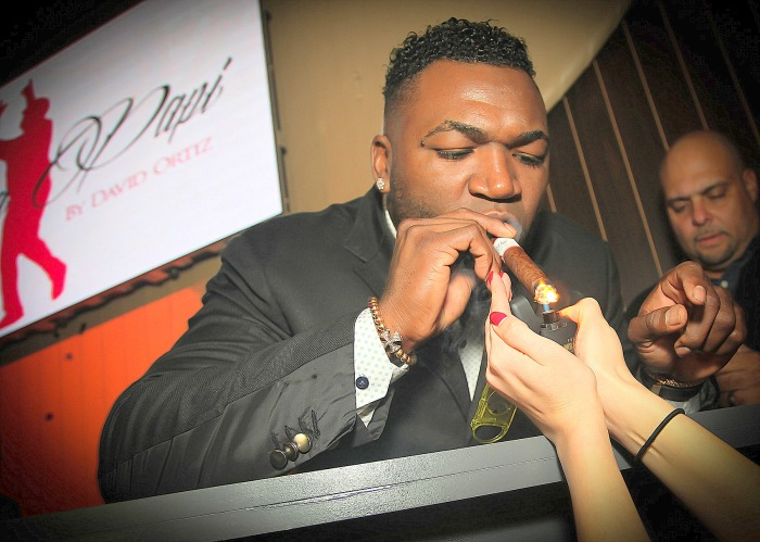 David Ortiz smoking a cigarette (or weed)